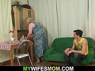 Big tits mother sucks his..