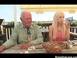 horny grandpa fucked by a..