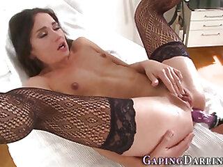 Stockinged slut ass toyed