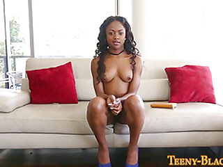 Ebony teen gets plowed and..