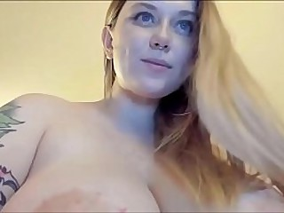 Sexy blonde with huge..