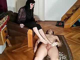 Slave get foot job and spray..
